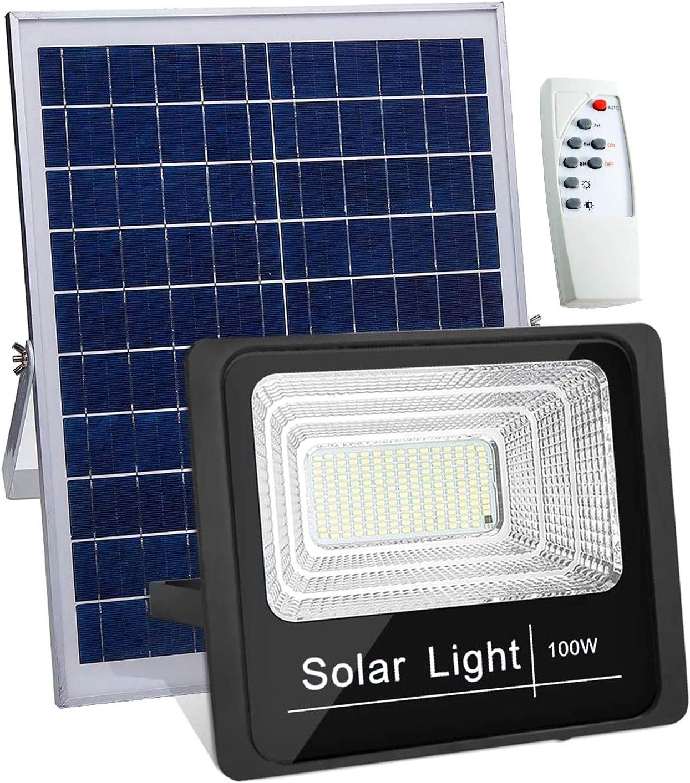 Luz Solar Exterior Mando a Distancia 100W, Foco Solar LED Luz ...