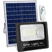 Luz Solar Exterior Mando a Distancia 100W, Foco Solar LED Luz Blanco Frio, Lámpara Solar 180 LEDS, Súper Brillantes
