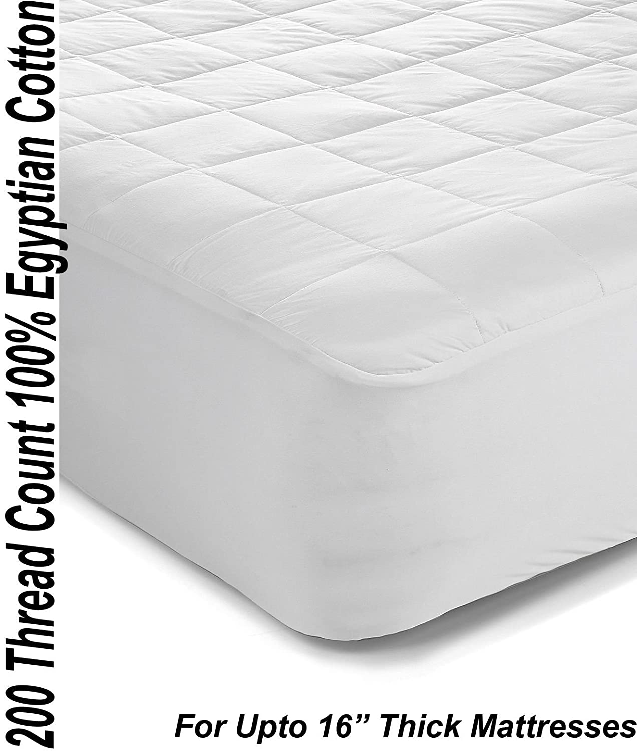Superior 200TC 100% Egyptian Cotton Quilted Mattress Protector / Pillow Protectors All Sizes (4ft / Small Double) Papa Jones Ltd