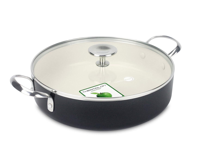 GreenPan Brussels CW001606-003 Sauteuse avec 2 Poignées/Couvercle Verre/Aluminium Noir 28 cm Green Pan