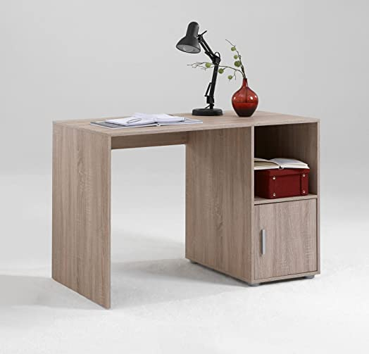 OLGA Home Office Computer Desk Finished In Light Oak Effect With Silver Detailing