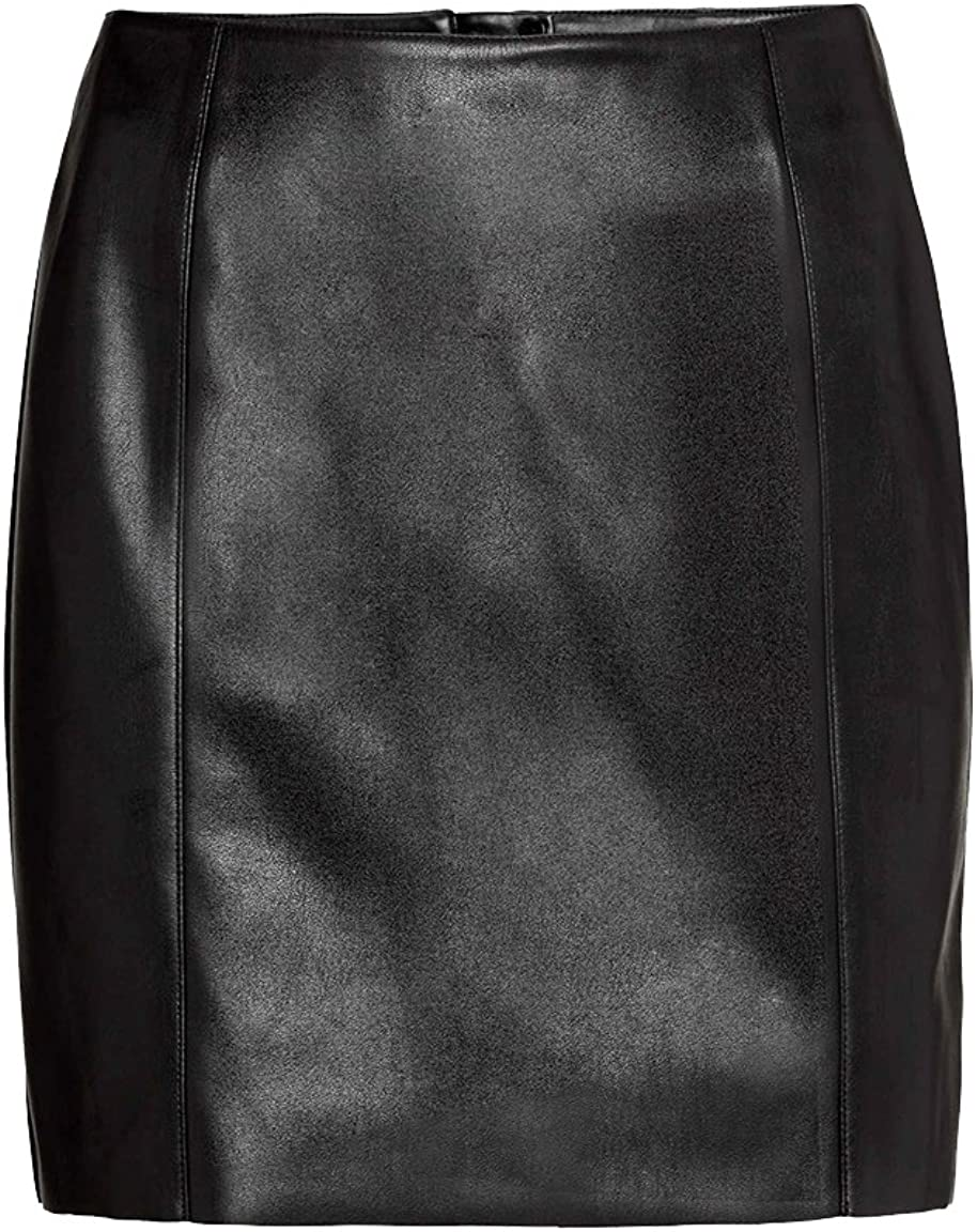 Luxury Genuine Leather Custom Made Lady Mini Skirt with Back Zip Office Lady Club Skirt #S12