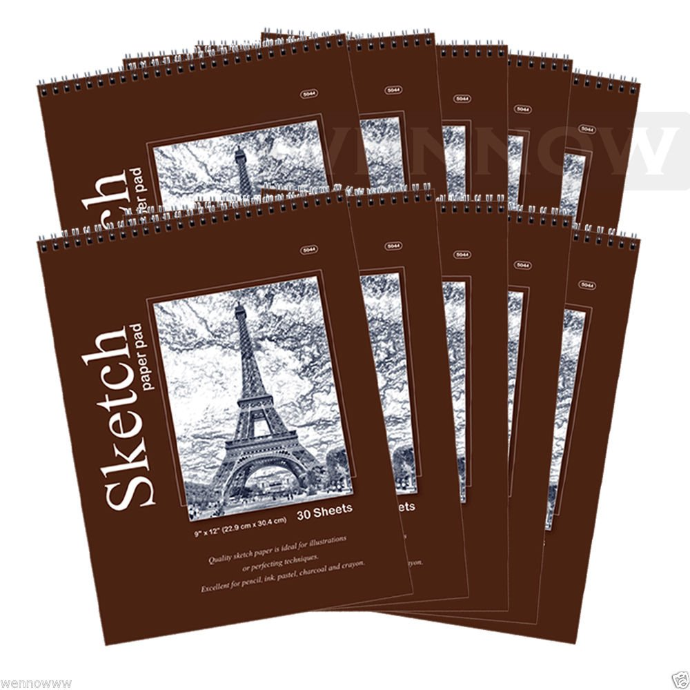 Wennow Quality Sketch Paper Book Pad, 9 x 12 inches, Top Bound Each 30 Sheets, 10 Pcs by WennoW