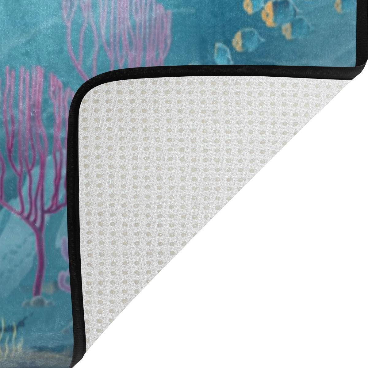 Naanle Mermaid Dolphins Ocean Sea Non Slip Area Rug for Living Dinning Room Bedroom Kitchen Mermaid Dolphins Nursery Rug Floor Carpet Yoga Mat 1.7 x 2.6 ft 50 x 80 cm