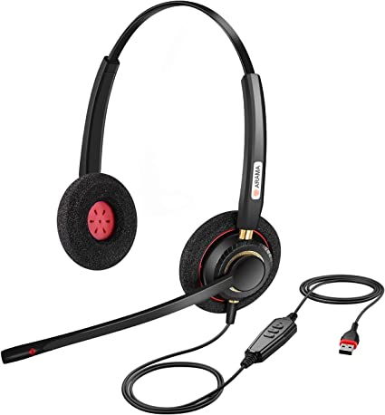 Arama USB Headset with Noise Cancelling Mic Call Controls /& Ultra Comfort Computer Headset for Business Skype UC Webinar Call Center Office