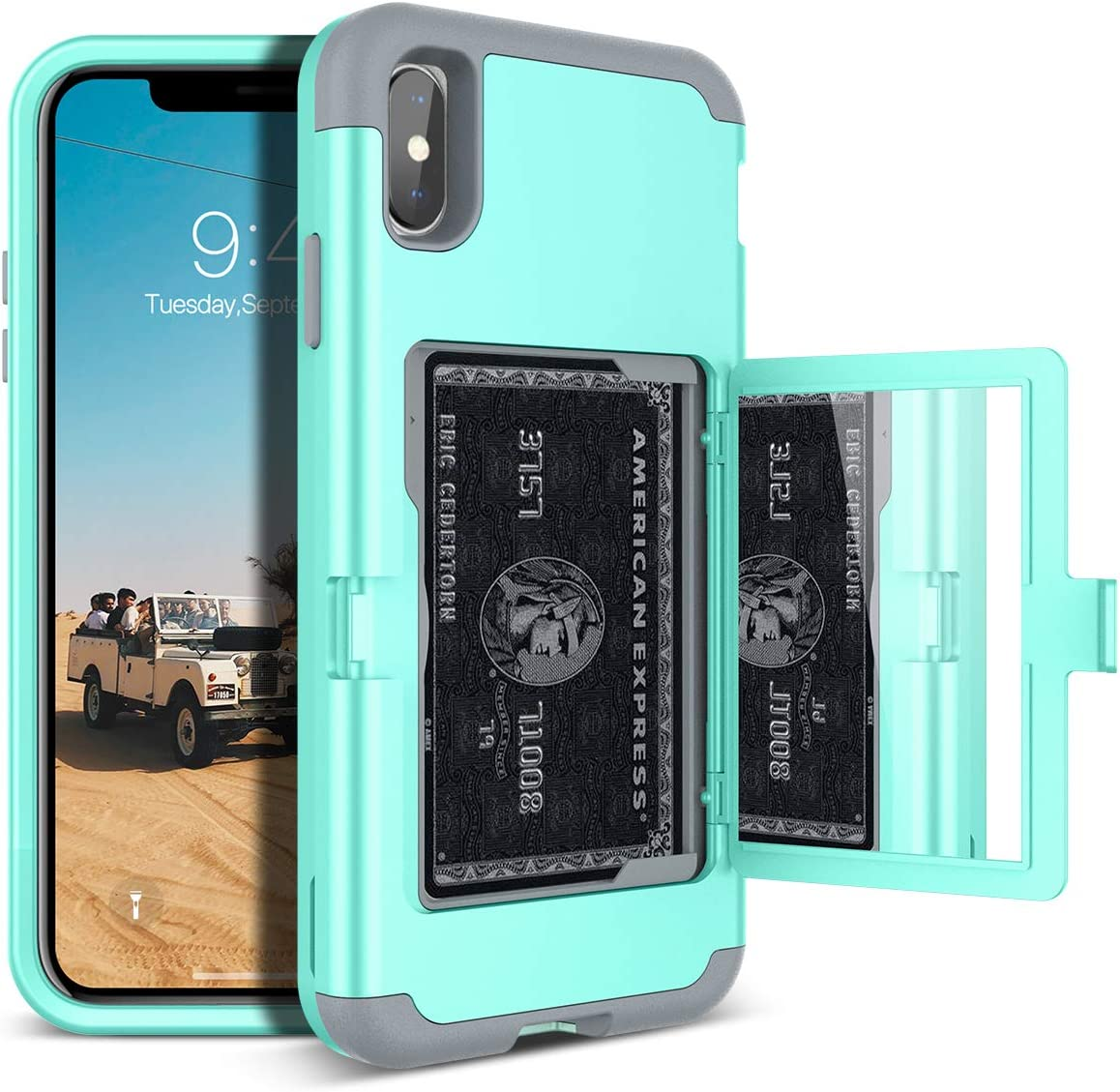 iPhone Xs Max Wallet Case - WeLoveCase Defender Wallet Card Holder Cover with Hidden Back Mirror Heavy Duty Protection Three Layer Shockproof Armor Full Protective Case for iPhone Xs Max - Mint
