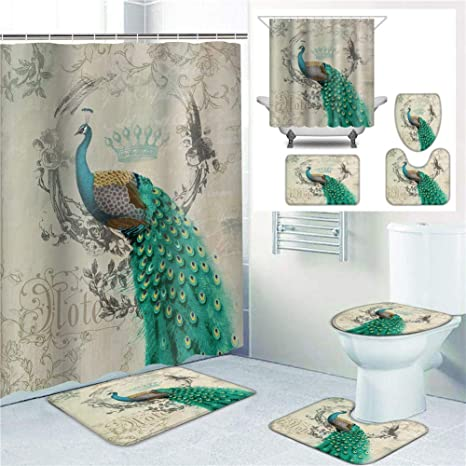 4Pcs Waterproof Peacock Feather NonSlip Bath Mat Rug Toilet Cover Shower