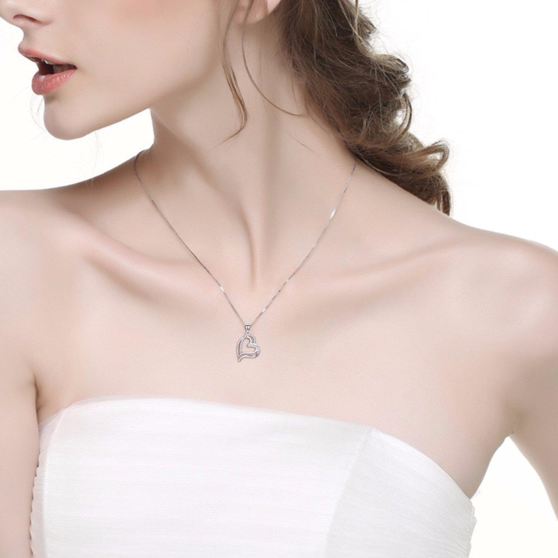 CS-DB Crystal CZ Hollow Love Heart Pendants Silver Necklaces