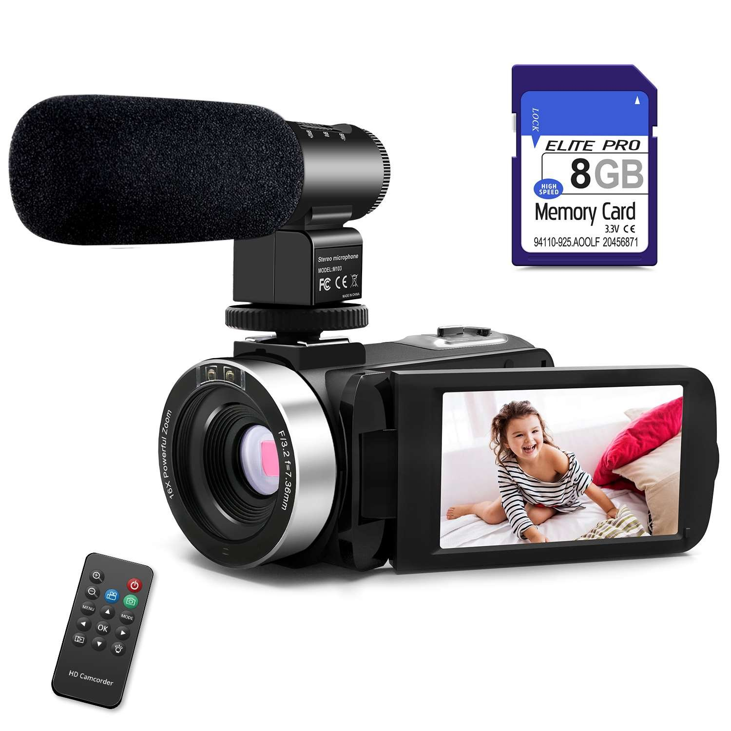 Camera Camcorders AOOE HD Recorder 1080P 24 MP 16X Video Camera with External Microphone 3.0 Inch LCD Stabilization With 270 Degree Rotation Screen Powerful Scalability Camera Bag Lithium Battery