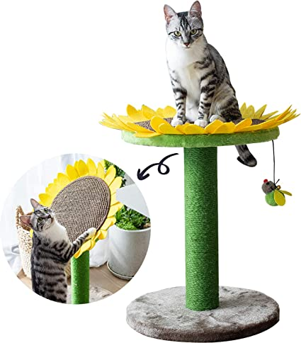 Catry Cat Sunflower Tree Bed with Scratching Post with Sisal Covered Climbing Activity Tower, Natural Jute Fiber 2-in-1 Scratching Post and Bed, Best ...