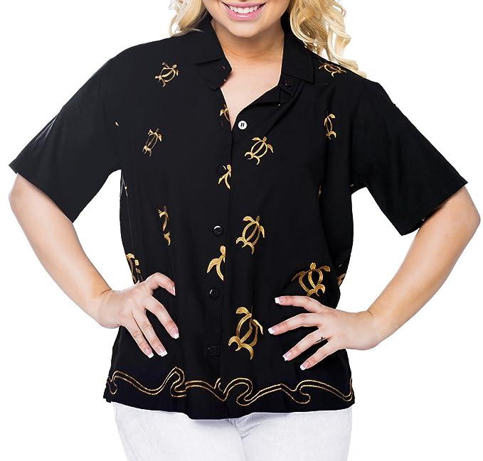 LA LEELA Blusas Hawaiano de Vacaciones de Camisa de botón a Las Mujeres relajadas Mangas Cortas