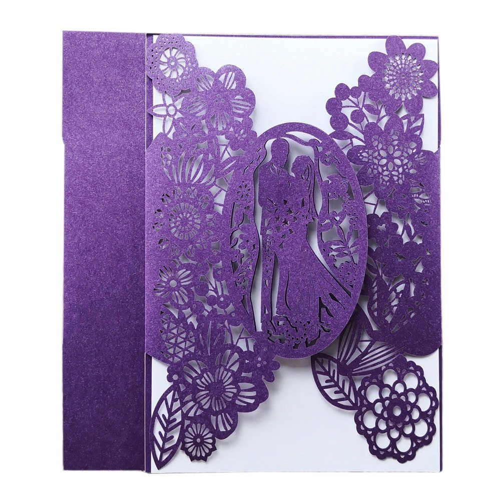 Amazon Laser Cut Wedding Invitations 40 Pack Fomtor Invitation Card Kit With Blank Printable Papers And Envelopes Purple Arts: Purple Wedding Invitation Card At Websimilar.org