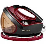 Steam Generator Iron, OUTAD Steam iron + Iron 1.1L Water Tank Irons 9 Mode Intelligent Thermostatic Steam Generator Iron, Anti-drip, Self-clean, Auto shut off, Support dry hot
