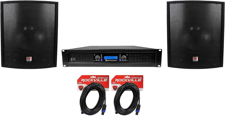 "(2) Rockville SBG1188 18"" 2000W Pro DJ Subwoofers+RPA12 5000w Amplifier+Cables"