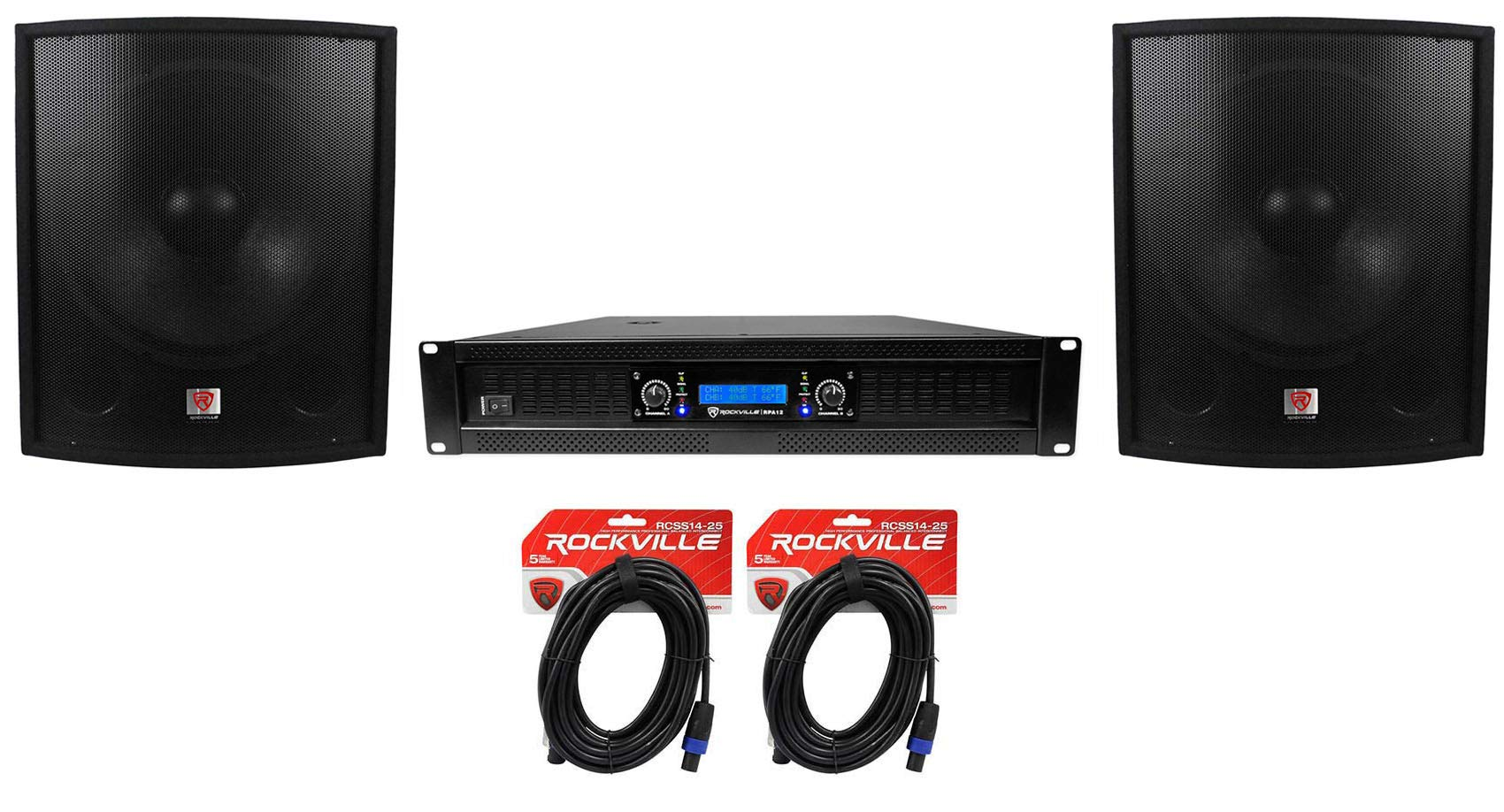 (2) Rockville SBG1188 18'' 2000W Pro DJ Subwoofers+RPA12 5000w Amplifier+Cables by Rockville