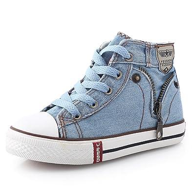 ed1b0799d4c7 Children Shoes Kids Canvas Sneakers Boys Jeans Flats Girls Boots Denim Side  Zipper Shoes 8.5