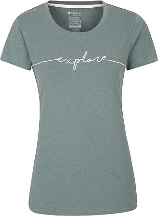 Mountain Warehouse Camiseta Explore Bordada para Mujer - Ligera, Transpirable, con protección UV, absorción de la Humedad y Secado rápido - para ...