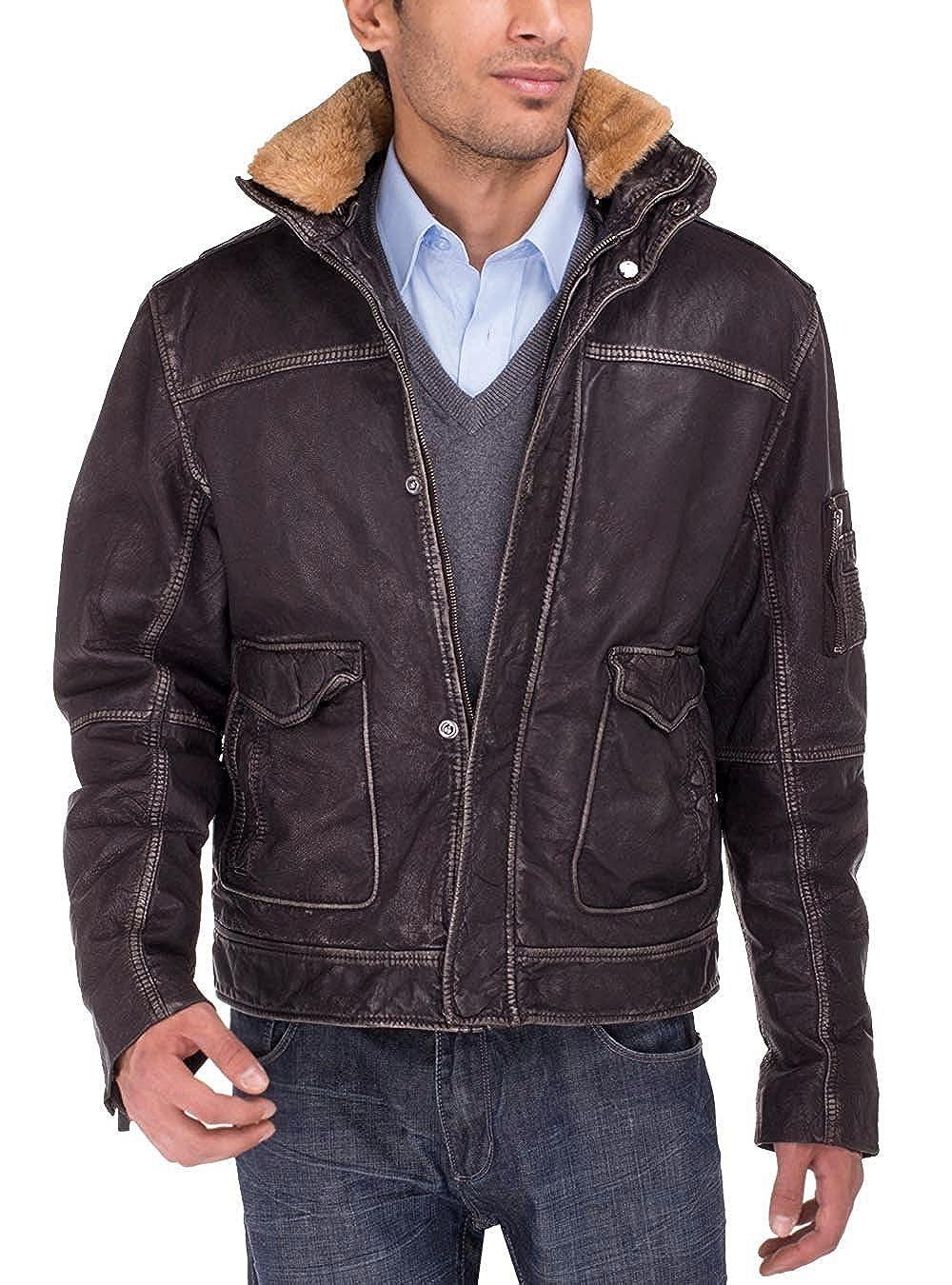 fa6a40d7c LN LUCIANO NATAZZI Men's Trim Fit Buff Rub Heritage Flight Leather Jacket