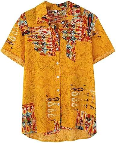 SoonerQuicker Camisas de Hombre T Shirt tee Camisa Suelta de Manga Corta para Hombre, con Estampado étnico y con Cuello de Raya Colorida: Amazon.es: Ropa y accesorios
