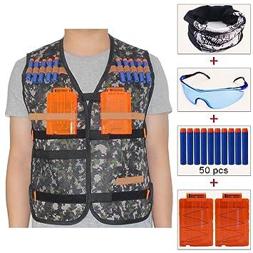 COSORO Kit de chaleco táctico para niños Elite (viene con gafas ...