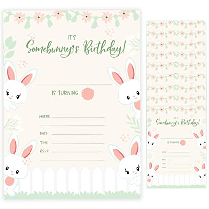 Amazon Com Bunny Rabbit Style 2 Happy Birthday Invitations Invite