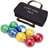 90mm Backyard Bocce Set with Carry Bag, Includes 8 All Weather Bocce Balls in 2 or 4 Team Colors, 1 Palino. Beach, Backyard Lawn or Outdoor Party Game for All Age