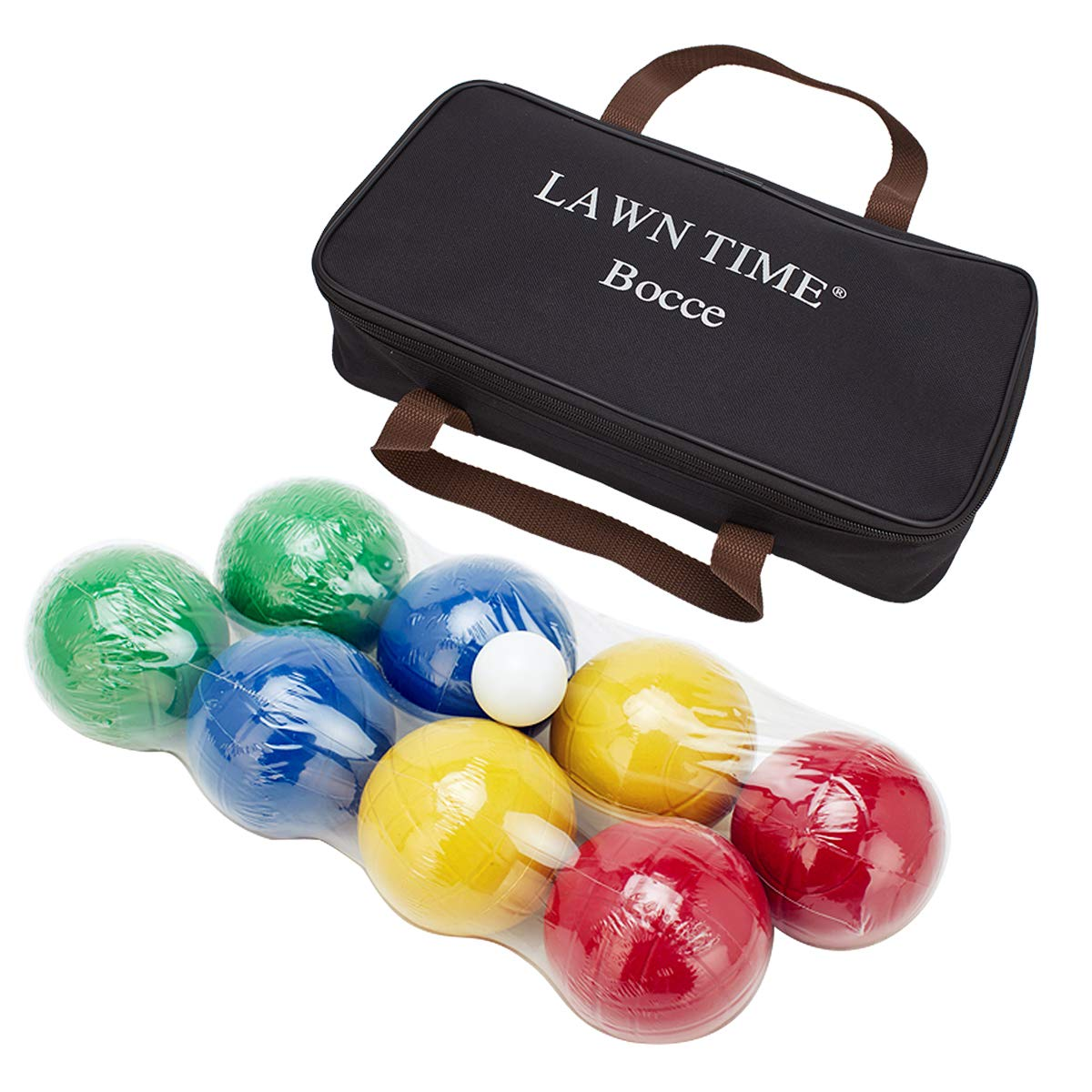 LAWN TIME 90mm Bocce Ball Set Includes 8 Recreational Plastic Balls, 1 Pallino or Jack Ball and 1 Nylon Zip-Up Carrying Case, Beach, Backyard or Outdoor Party Game, Family Fun for All Ages by LAWN TIME