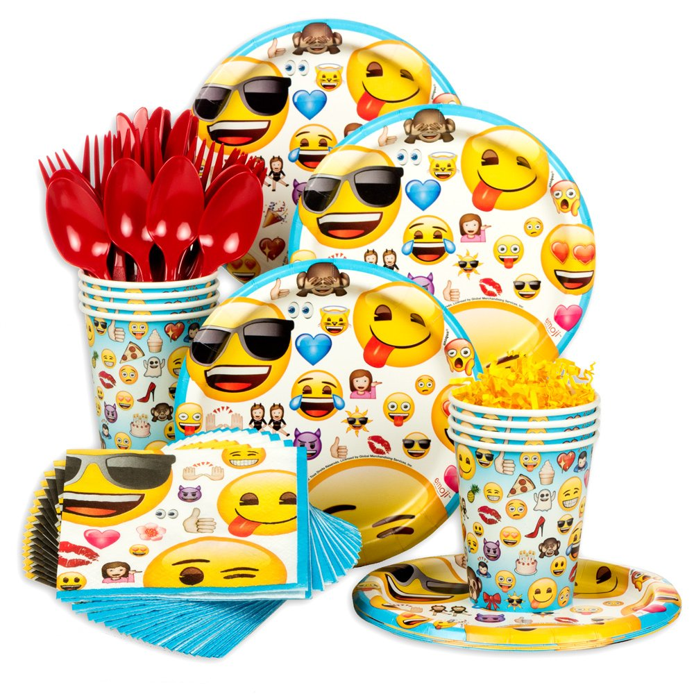 Amazoncom Emoji Standard Birthday Party Tableware Kit Serves 8