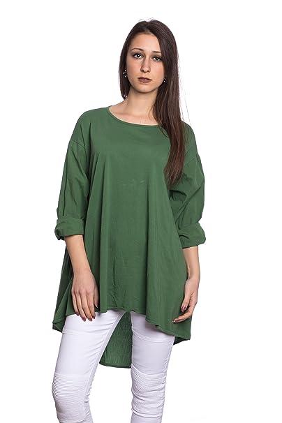 Abbino 17205 Camisa Blusa Top para Mujer - Hecho en ITALIA - 8 Colores - Entretiempo