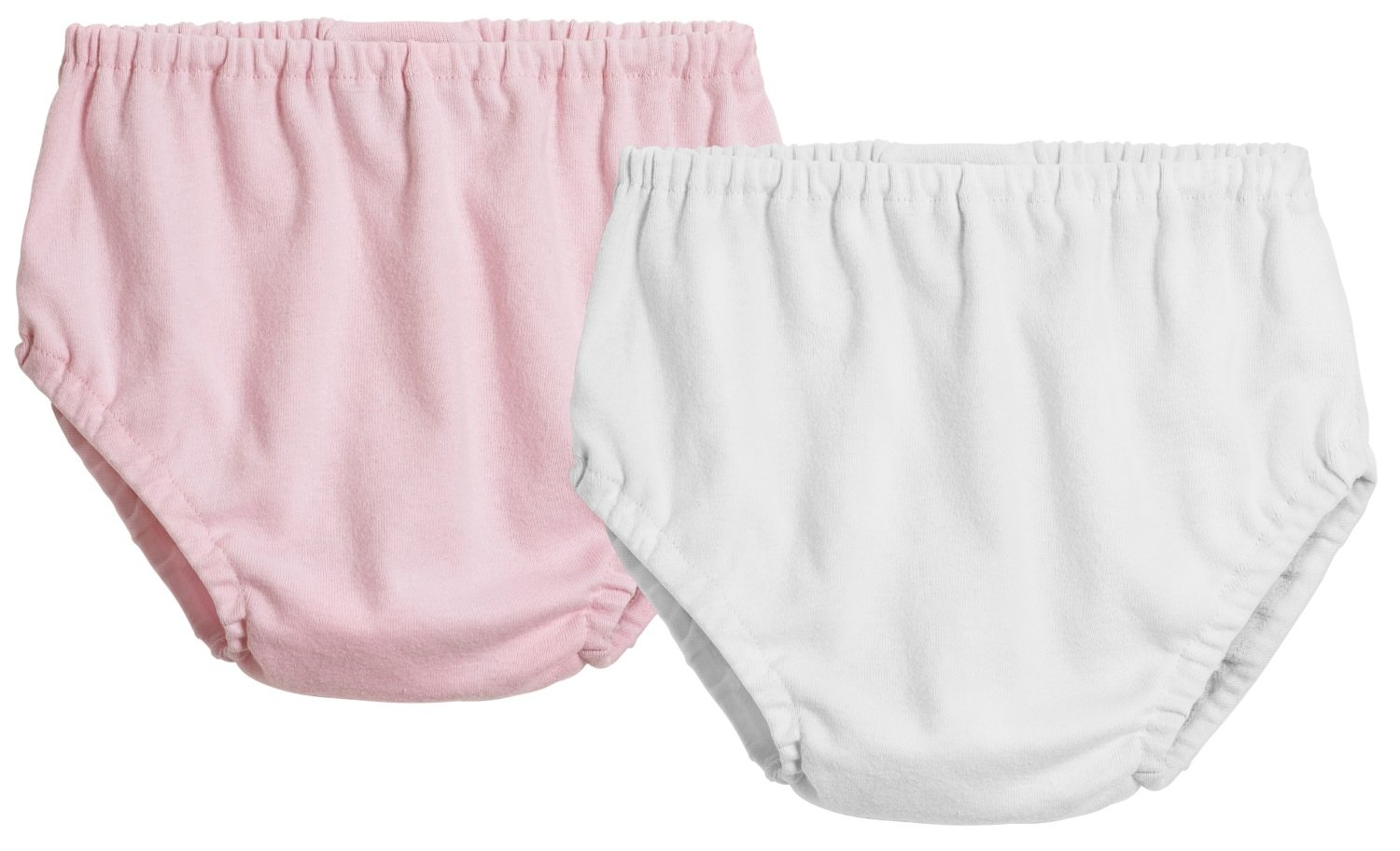 City Threads 2-Pack Little Girls' and Little Boys'' Unisex Diaper Covers Bloomers Soft Cotton, Pink/White, 3T