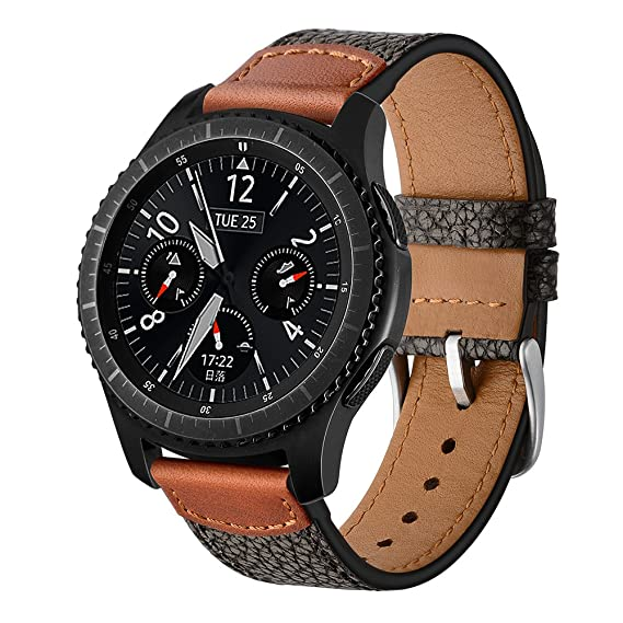 Laforuta Compatible Samsung Gear S3 Frontier/Classic Bands Leather Women Men Galaxy Watch 46mm Smartwatch Band 22mm Quick Release Strap Lightweight ...