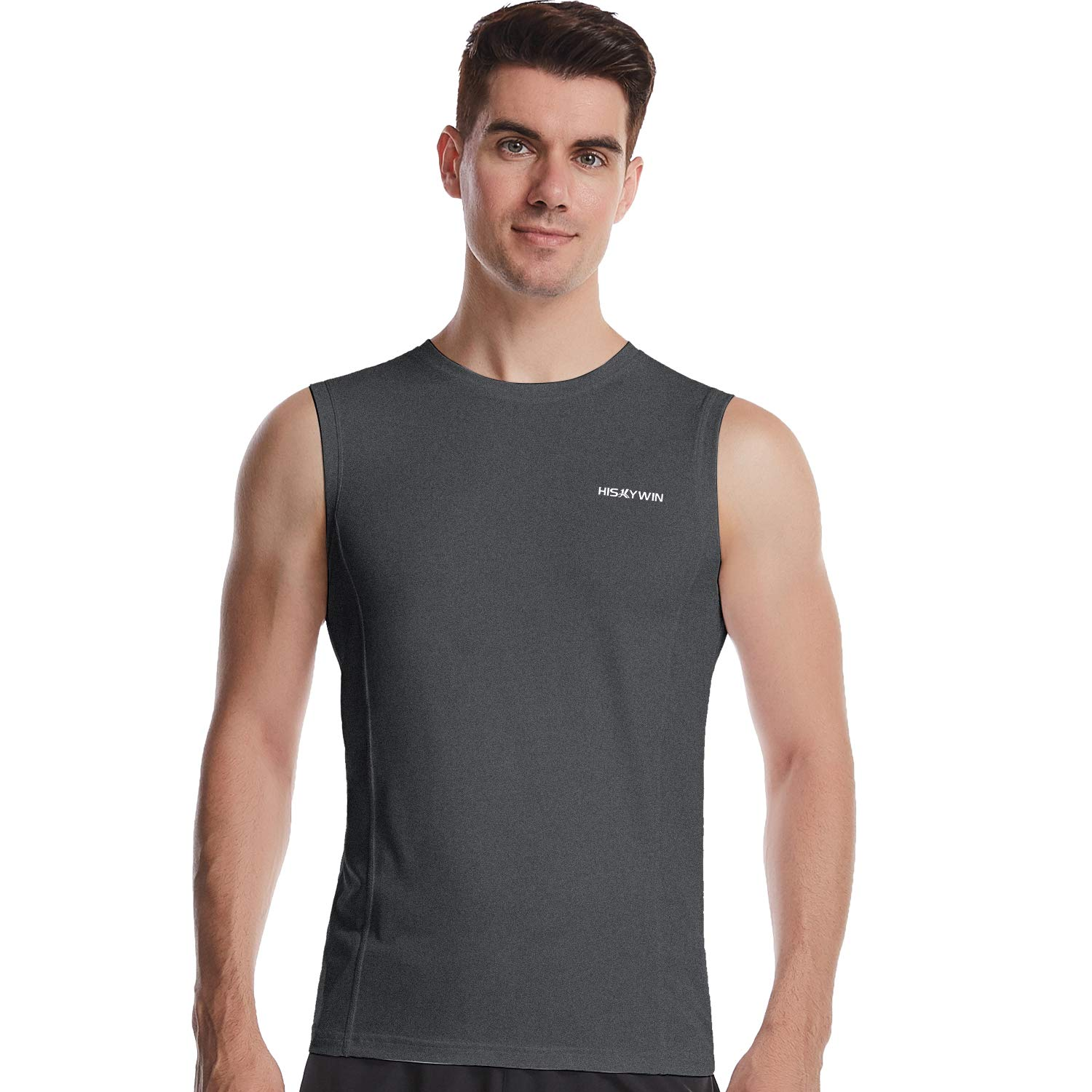 HISKYWIN Mens Basic Solid Workout Bodybuilding Tank-Tops Quick-Dry Sleeveless T-Shirt Athletic-Fit Vest Undershirt