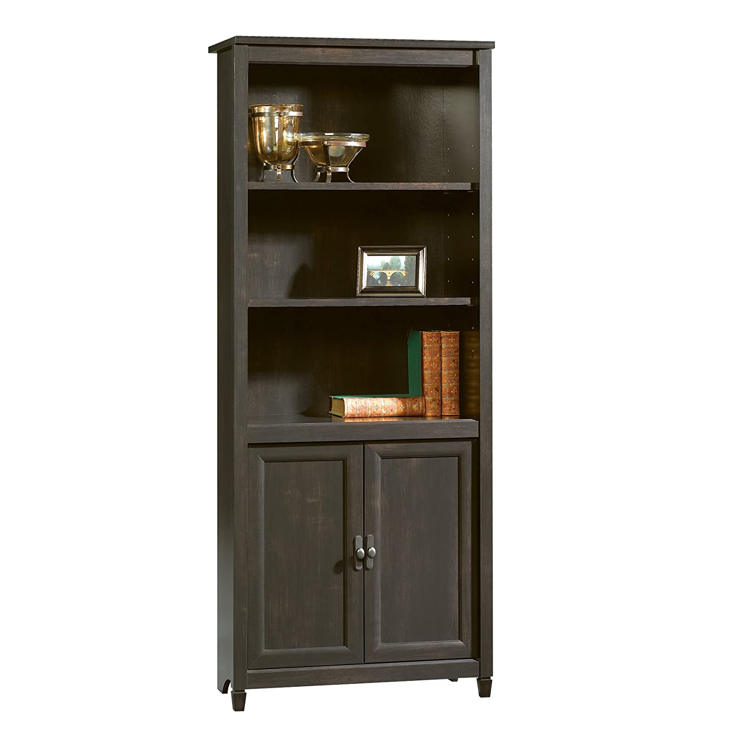 Sauder Edge Water Library with Doors, Estate Black 409046