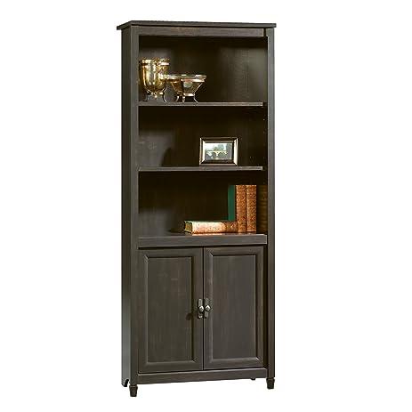 Amazon.com: Sauder Edge Water Library with Doors, Estate Black ...
