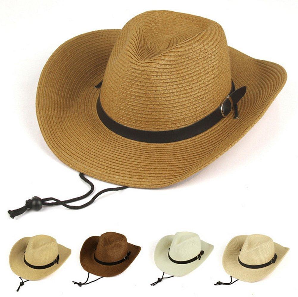 Talla /única lansue Simplicidad Unisex Caf/é Sombrero de Vaquero Sombrero de Playa Sombrero de Paja