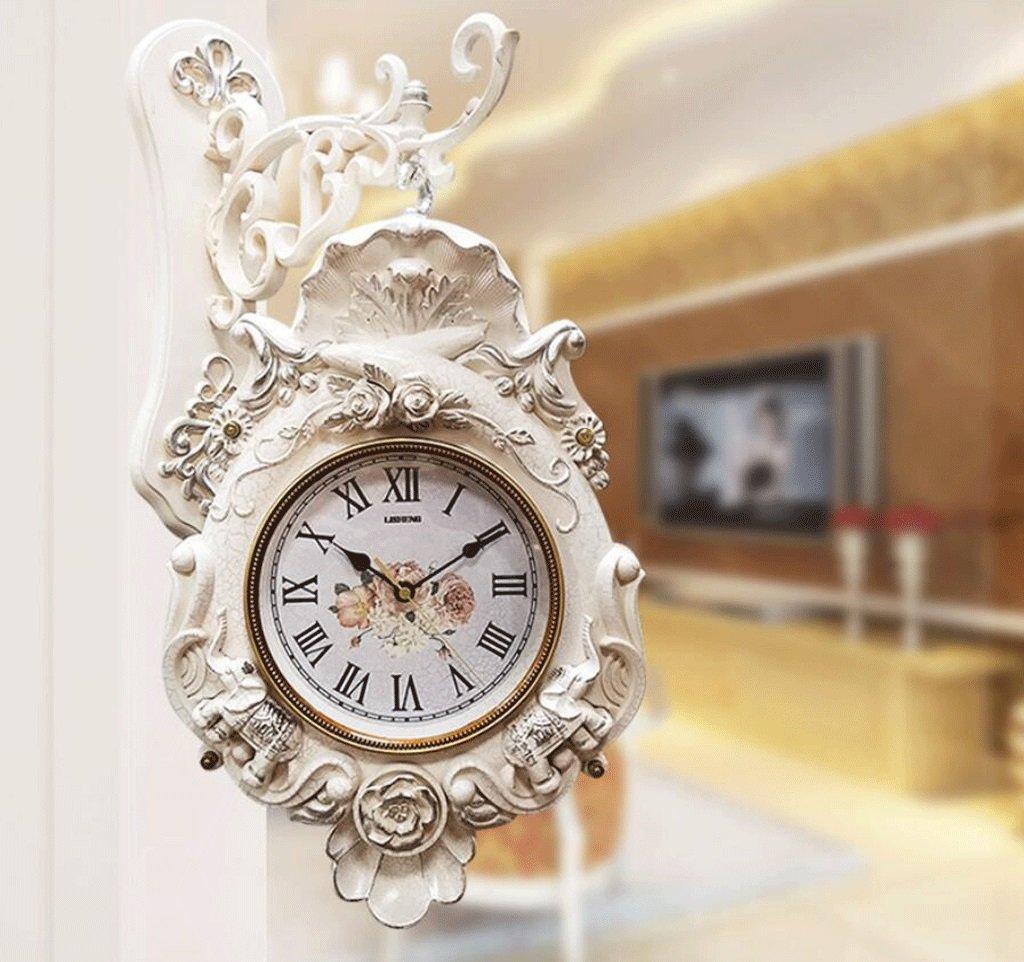 TXXM 両面時計リビングルームミュートウォールクロッククォーツ時計パストラルクリエイティブ時計レトロクリエイティブホームデコレーション (色 : B) B07F9TC71HB