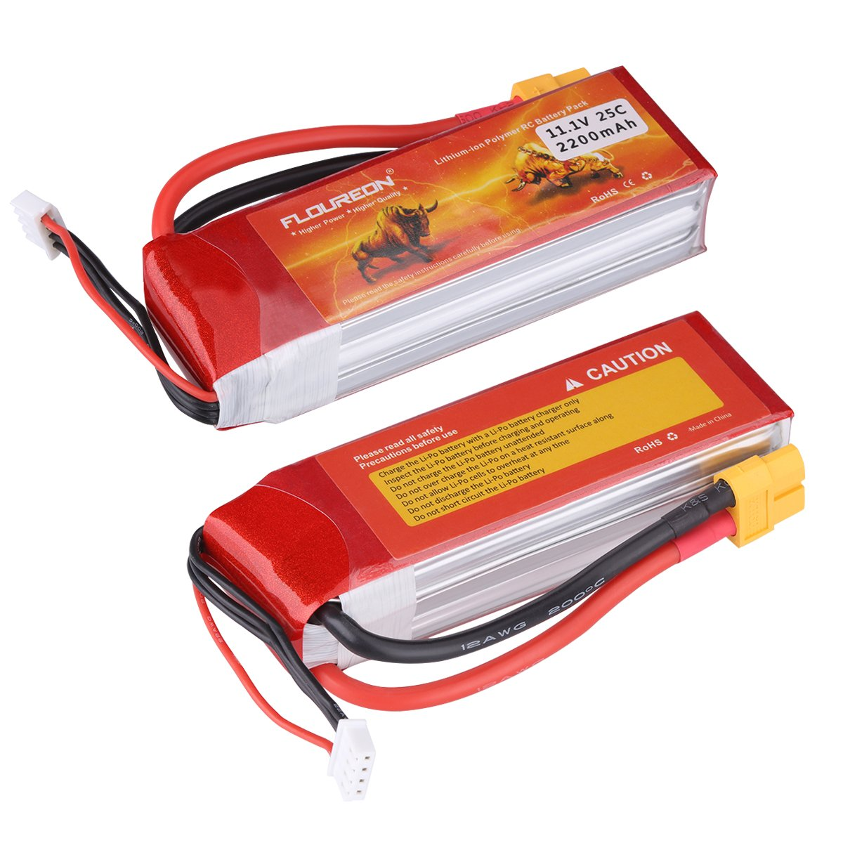 FLOUREON Lipo 3S 25C 11.1V 2200mAh XT60 Plug Rechargeable RC Battery Pack for RC Car Truck RC Boat Traxxas Slash Flame Kyosho Racing Truck (2pack)