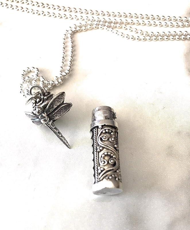 Tiny Locket Silver Dragonfly Necklace Tiny Silver Locket Silver Dragonfly Necklace Christmas Gift Tiny Round Locket Dragonfly Necklace
