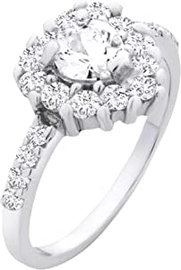 Chic Jewels RG2013-Heart Shape Wedding Band Engagement Ring In 925 Sterling Silver