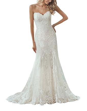 731a5c0748 Doramei Women s Bridal Gown Sweetheart Button Back Sweep Train Lace  Appliques Bodice Beach Wedding Dress White