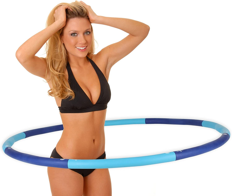 /Ø 38 cm Double poign/ée Cercle Yoga 1 unit/é avec Exercices Fibre de Verre Sport Relaxdays Hula Hoop Anneau Pilates Gris Adulte Unisexe rembourr/é