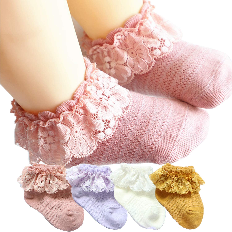 Kids Baby Girls Frilly Bow Lace Tutu Socks Infant Newborn Toddler Ankle Sock hot