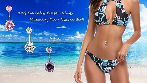 14G Blue Stainless Steel Heart Navel Belly Bar Ring Button Body Piercing Art CG