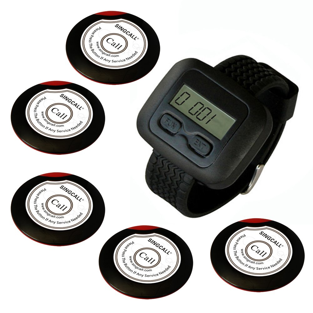 SINGCALL Wireless Calling System, Wireless Waiter Pager System, for Supermarket, for Restaurant, Cafe, Coffee Shop. Pack of 5 Pcs Table Buttons and 1 Pc Wrist Watch Receiver by SINGCALL