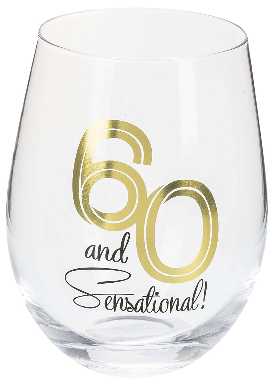 Sixty And Sensational Polished Gold Foil Tone Glass 18 Ounce Stemless Wine Glass