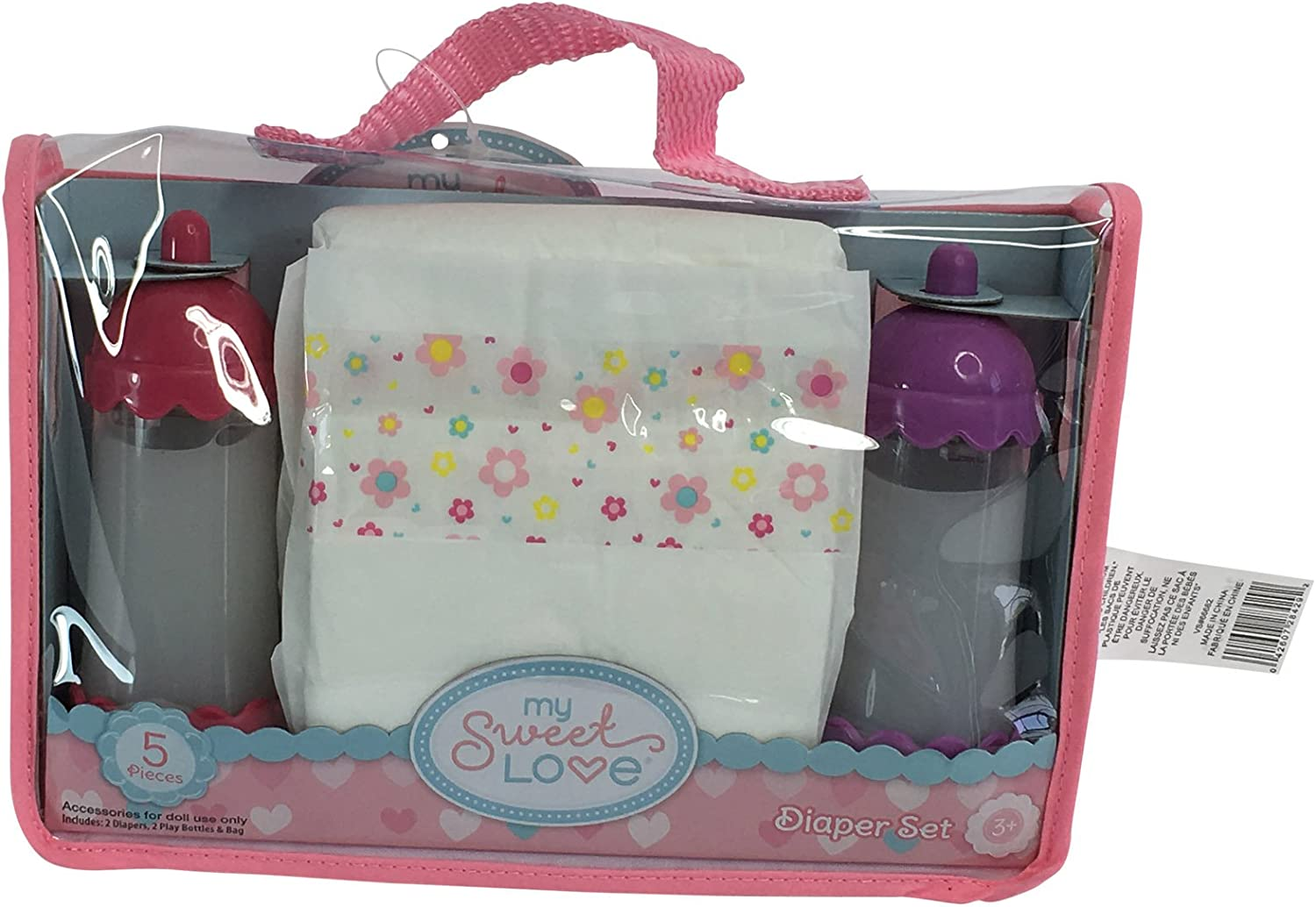 Pink and Blue My Sweet Love 5 Piece Baby Doll Diapering Set