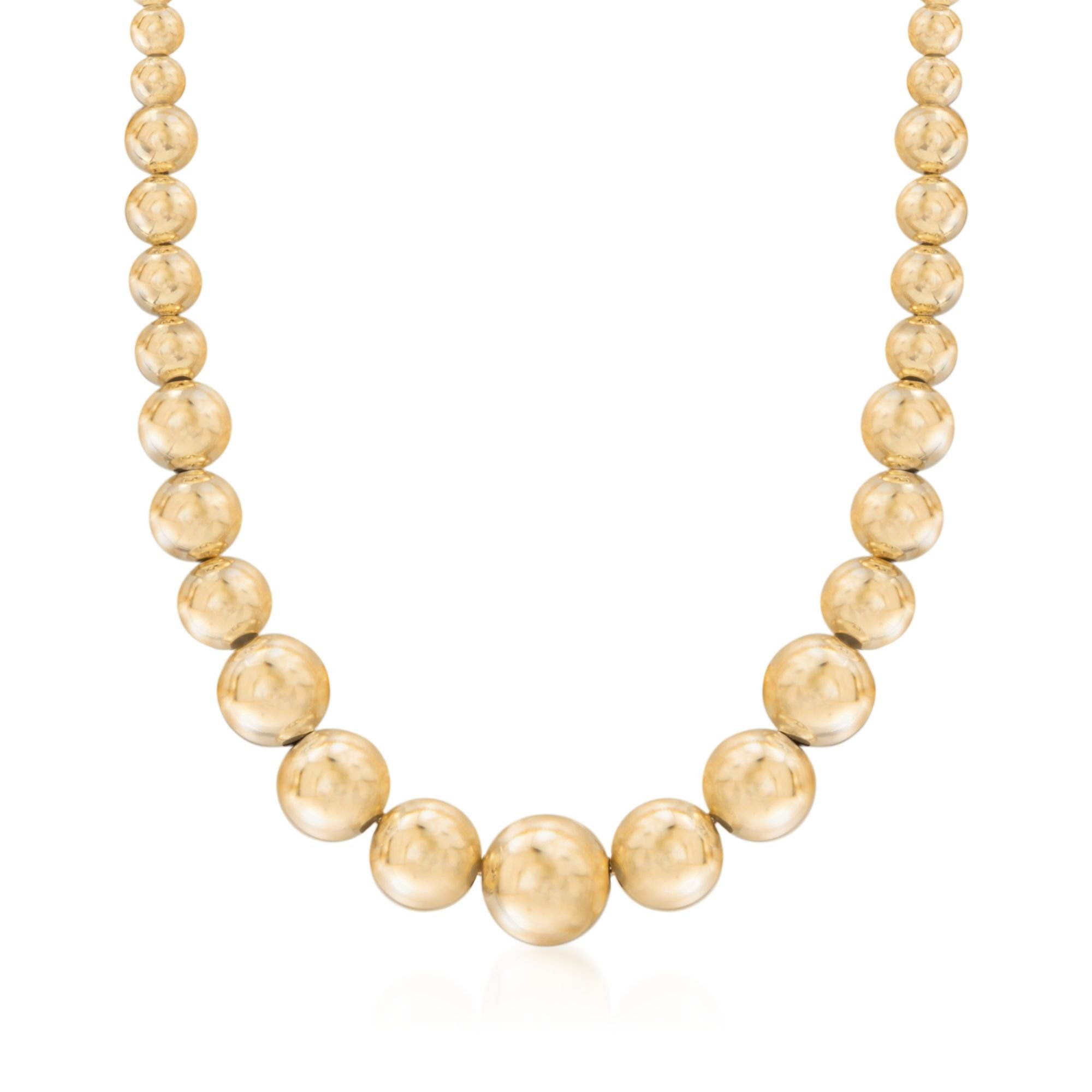 Ross-Simons Italian 6-14mm 18kt Gold Over Sterling Silver Graduated Bead Necklace by Ross-Simons (Image #1)