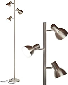 Brightech Ethan - LED Tree Floor Lamp for Mid Century, Modern, Contemporary and Industrial Decor - 3 Light Standing Pole Lamp- Tall Light for Living Room, Bedroom, and Office - Nickel