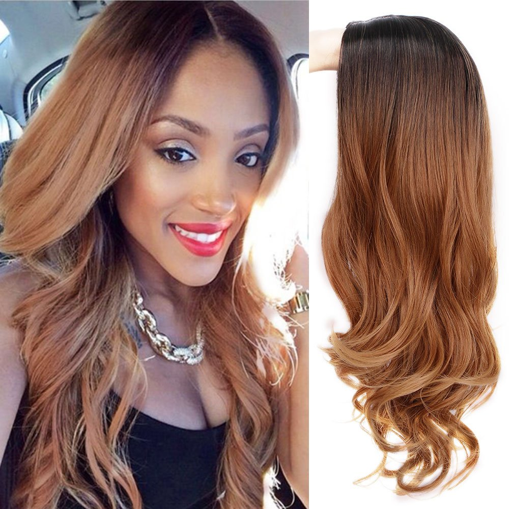 ForQueens Ombre Wig for Women Long Brown Curly Synthetic Party Wigs Mixed Color Middle Part Wavy Full Wigs with Heat Resistant Fiber