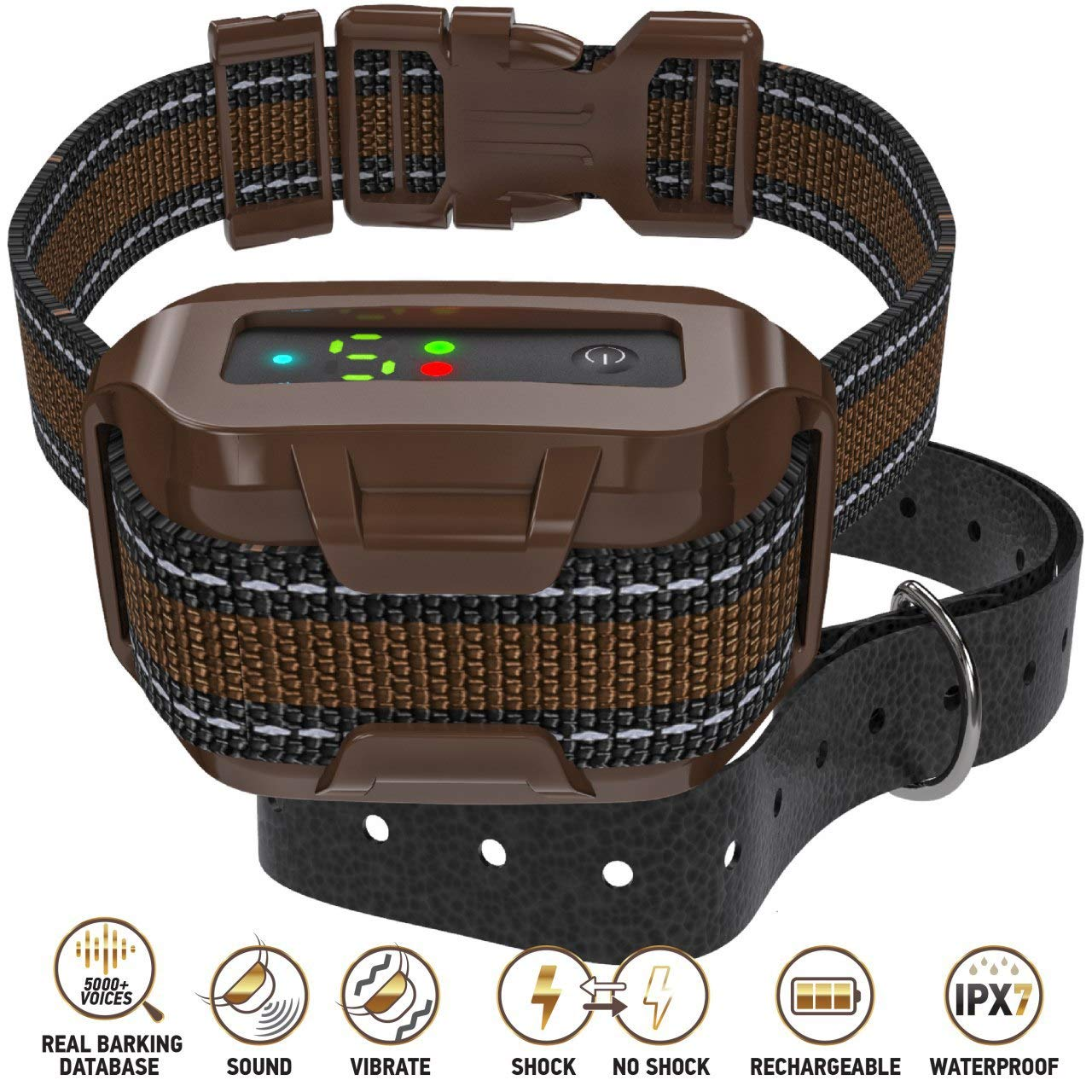 Q7 Pro - Professional Bark Collar Rechargeable, New Microprocessor Smart Detection Module with Three Anti-Barking Modes: Beep/Vibration/Shock for Small, Medium, Large Dogs All Breeds - IPx7 Waterproof